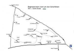 Karte Bogenparcours Geierfelsen grüne Runde