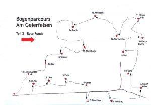 Karte Bogenparcours Geierfelsen rote Runde
